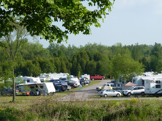 View of overnight campsites