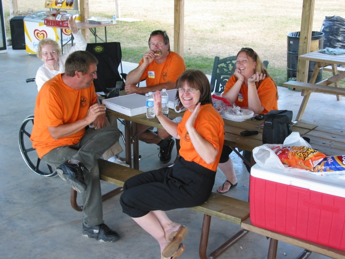 Car Show Staff - Enjoying some food after a long day